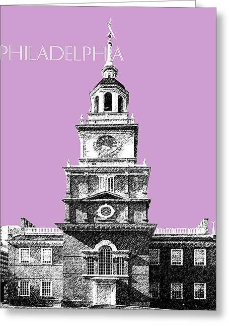 Philadelphia Skyline Greeting Cards - Philadelphia Skyline Independence Hall - Light Plum Greeting Card by DB Artist