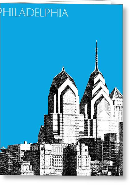 Philadelphia Skyline Greeting Cards - Philadelphia Skyline Liberty Place 1 - Ice Blue Greeting Card by DB Artist