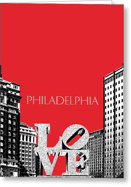 Philadelphia Skyline Greeting Cards - Philadelphia Skyline Love Park - Red Greeting Card by DB Artist