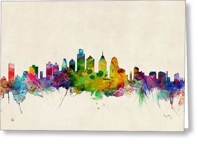 Urban Watercolour Greeting Cards - Philadelphia Skyline Greeting Card by Michael Tompsett