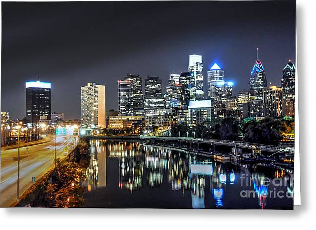 Williams Dam Greeting Cards - Philadelphia Skyline Nightscape Greeting Card by Mark Ayzenberg