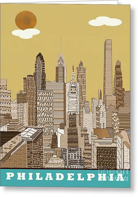 Philadelphia Greeting Cards - Philadelphia Skyline Vintage  Greeting Card by Bri Buckley