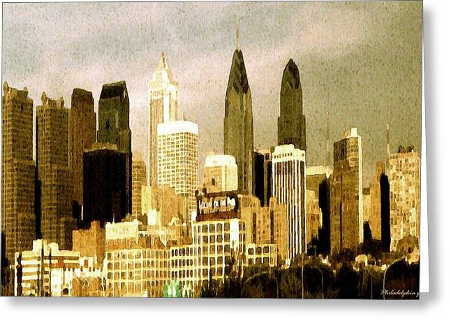 Phillies Framed Prints Greeting Cards - Philadelphia Skyline - Watercolor Painting Greeting Card by Peter Fine Art Gallery  - Paintings Photos Digital Art