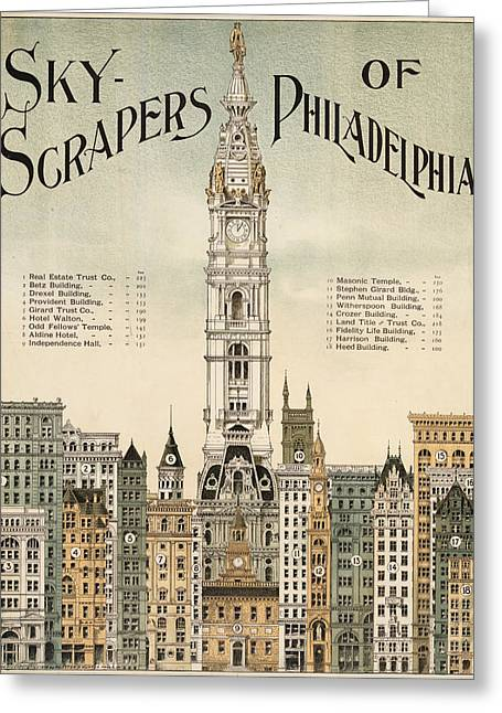 Phillies Posters Greeting Cards - Philadelphia Skyscrapers Greeting Card by Nomad Art And  Design