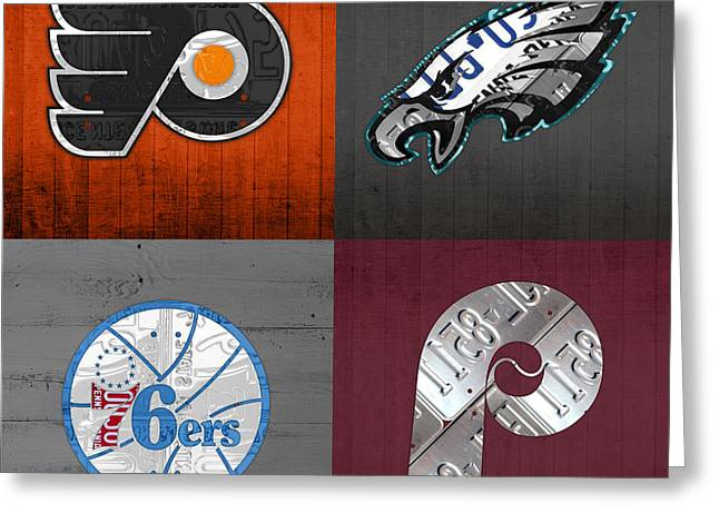 Philadelphia Sports Fan Recycled Vintage Pennsylvania License Plate Art Flyers Eagles 76ers Phillies Greeting Card by Design Turnpike