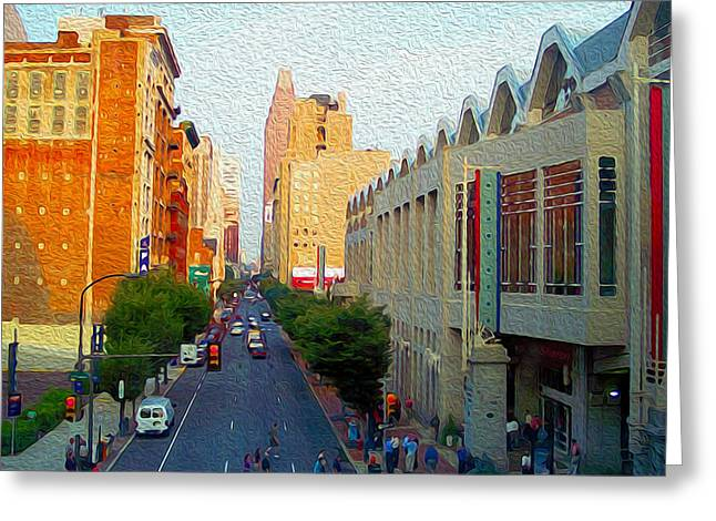 Convention Mixed Media Greeting Cards - Philadelphia Street Late Evening Greeting Card by Garland Johnson