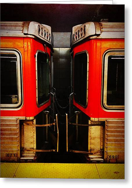 Phillies Tickets Greeting Cards - Philadelphia - Subway Face Off Greeting Card by Richard Reeve