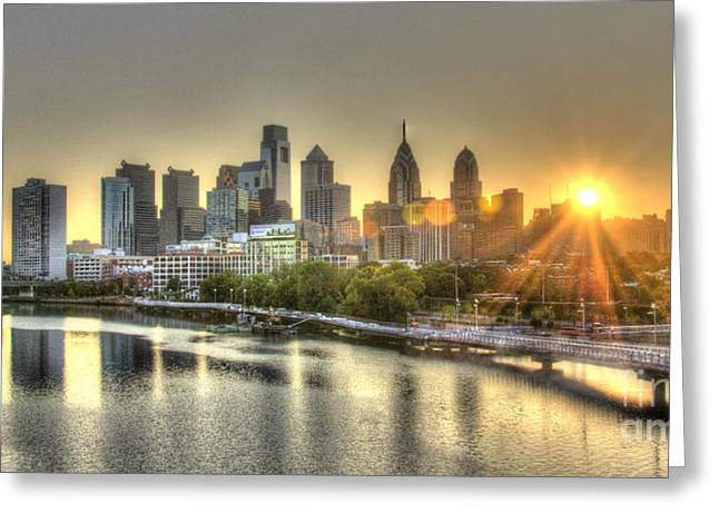 Williams Dam Greeting Cards - Philadelphia Sunrise Greeting Card by Mark Ayzenberg
