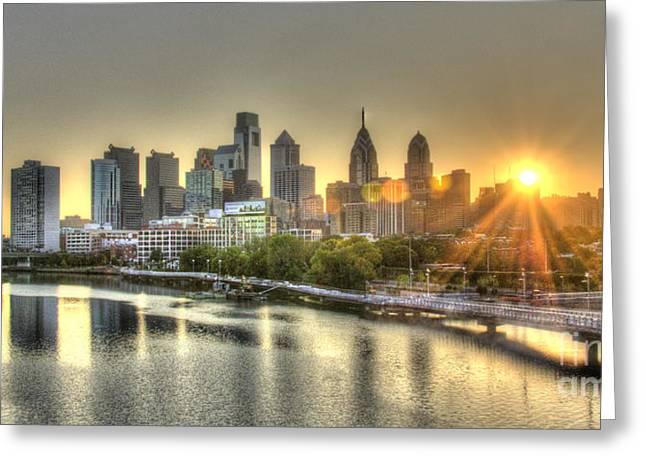 Best Sellers -  - Williams Dam Greeting Cards - Philadelphia Sunrise Greeting Card by Mark Ayzenberg