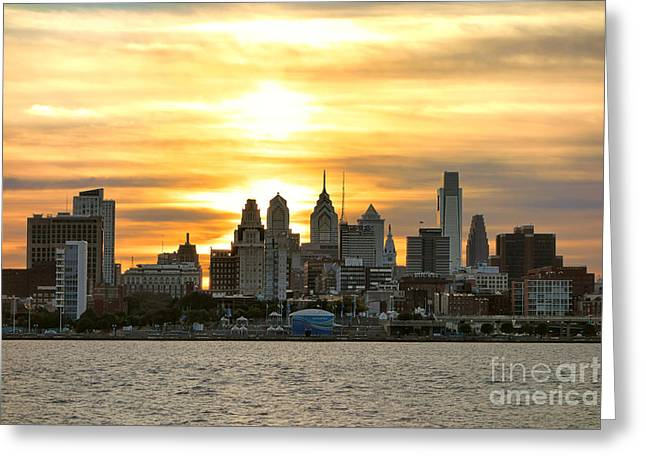 Philadelphia Greeting Cards - Philadelphia Sunset Greeting Card by Olivier Le Queinec