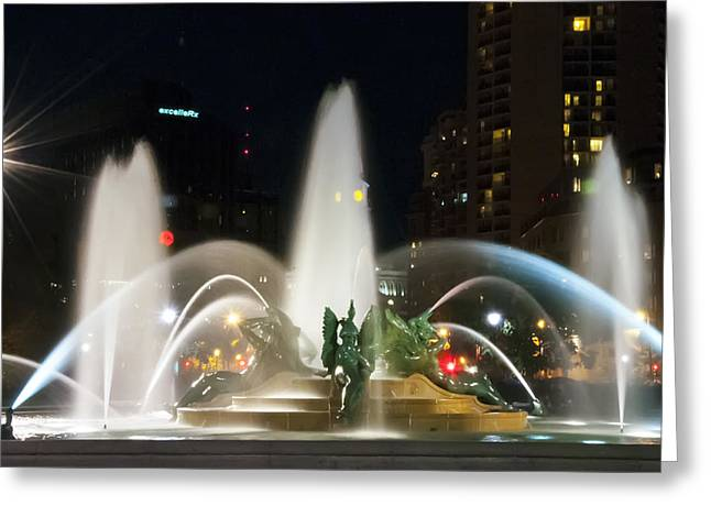 Philadelphia - Swann Fountain - Night Greeting Card by Bill Cannon