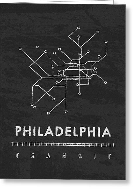 Sixers Greeting Cards - Philadelphia Transit 2 Greeting Card by Damon Gray