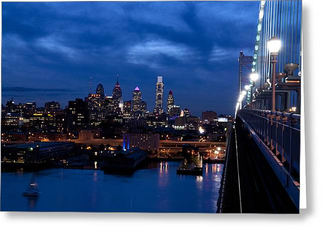 Downtown Franklin Greeting Cards - Philadelphia Twilight Greeting Card by Jennifer Lyon