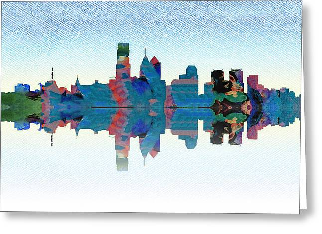 Philadelphia Digital Greeting Cards - Philadelphia Water Color Cityscape Greeting Card by Bill Cannon