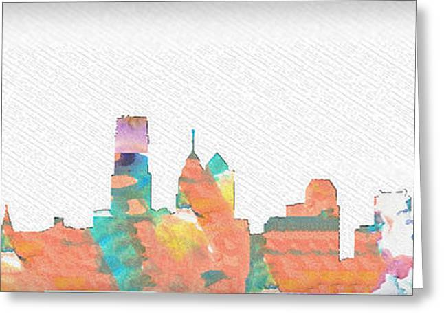 Philadelphia Digital Greeting Cards - Philadelphia Watercolor Cityscape Greeting Card by Bill Cannon