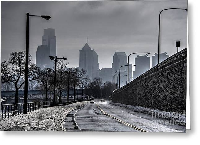 Williams Dam Greeting Cards - Philadelphia Winter Skyline Greeting Card by Mark Ayzenberg