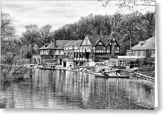 Philadelphia Digital Greeting Cards - Philadelphias Boathouse Row in Black and White Greeting Card by Bill Cannon