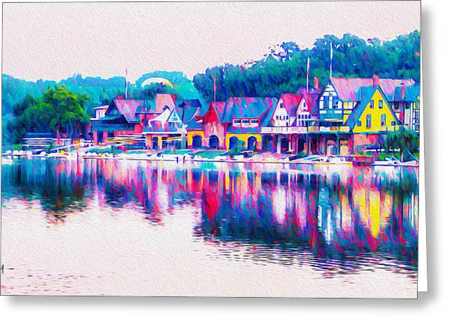 Kelly Drive Digital Greeting Cards - Philadelphias Boathouse Row on the Schuylkill River Greeting Card by Bill Cannon