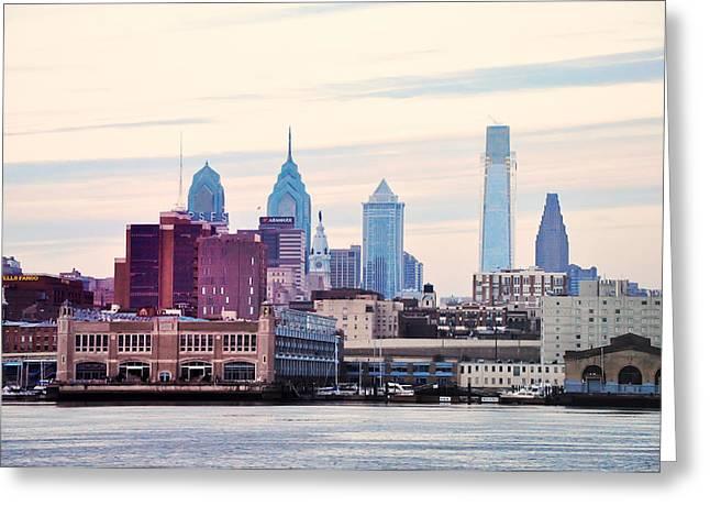 Philadelphia Digital Art Greeting Cards - Philadelphias Delaware River Waterfront Greeting Card by Bill Cannon