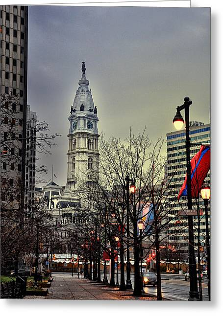 Phila Greeting Cards - Philadelphias Iconic City Hall Greeting Card by Bill Cannon