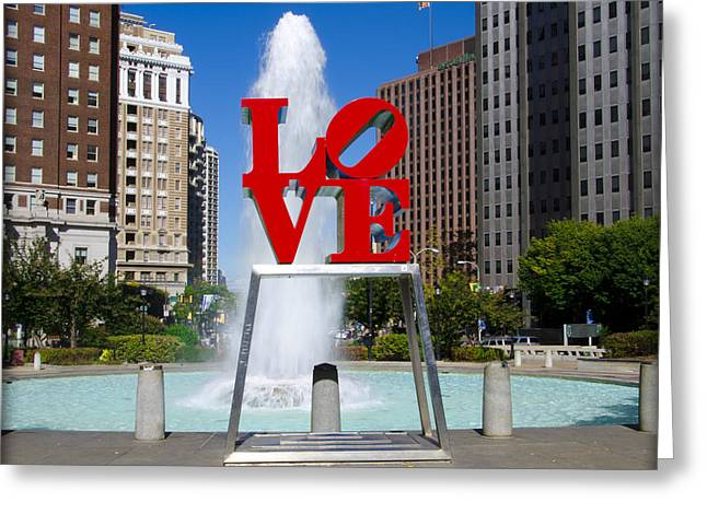 Philadelphia Greeting Cards - Philadelphias Love Park Greeting Card by Bill Cannon