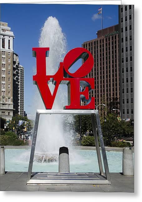 Philadelphia Digital Art Greeting Cards - Philadelphias Love Statue Greeting Card by Bill Cannon