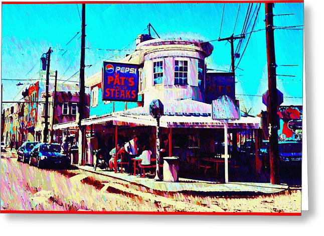 South Philadelphia Digital Greeting Cards - Philadelphias Pats Steaks Greeting Card by Bill Cannon