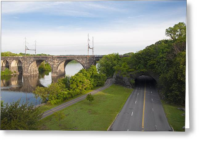 Kelly Drive Digital Greeting Cards - Philadelphias Rock Tunnel - Kelly Drive Greeting Card by Bill Cannon