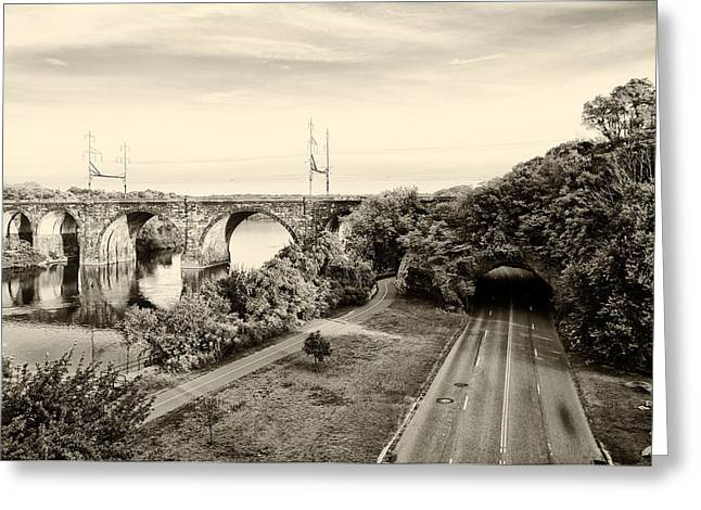 Kelly Drive Digital Greeting Cards - Philadelphias Rock Tunnel - Kelly Drive in Sepia Greeting Card by Bill Cannon