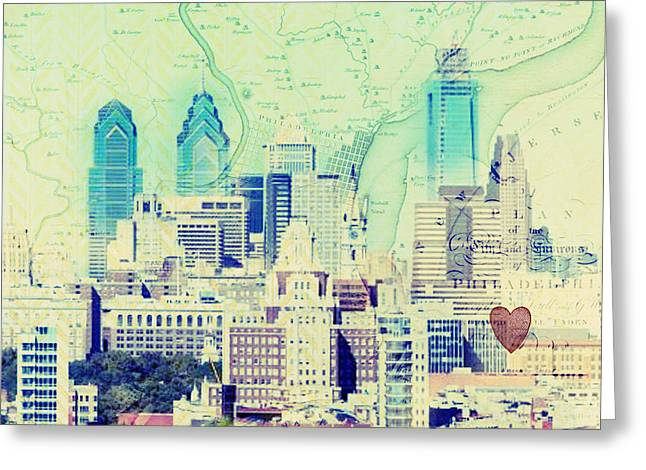 Phillies Mixed Media Greeting Cards - Philadelpiha in the Sky Greeting Card by Brandi Fitzgerald