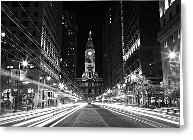 William Penn Greeting Cards - Philadephia City Hall -- Black and White Greeting Card by Stephen Stookey