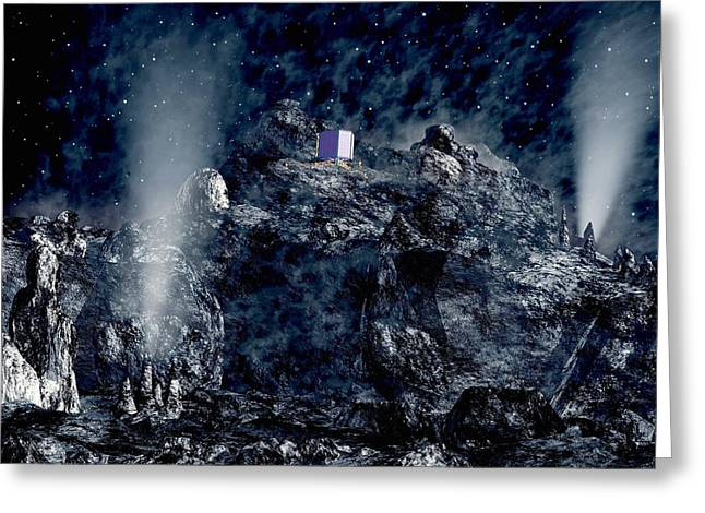 Philae Lander Descending Onto Comet Greeting Card by European Space Agency,medialab