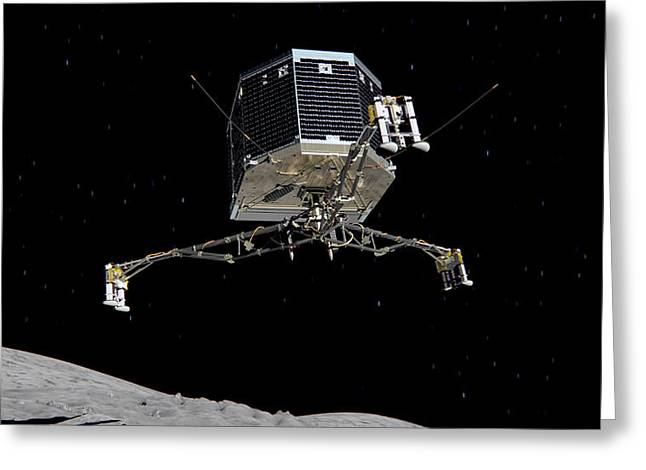 Greeting Card featuring the photograph Philae Lander Descending To Comet 67pc-g by Science Source