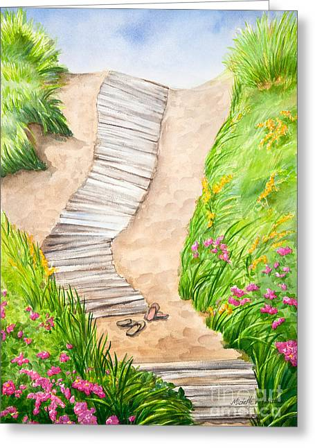 Beach Roses Greeting Cards - Philbin Beach Path Greeting Card by Michelle Wiarda