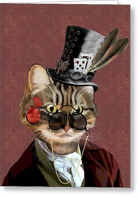 Cat Prints Greeting Cards - Phileas Feline Steampunk Cat Greeting Card by Kelly McLaughlan