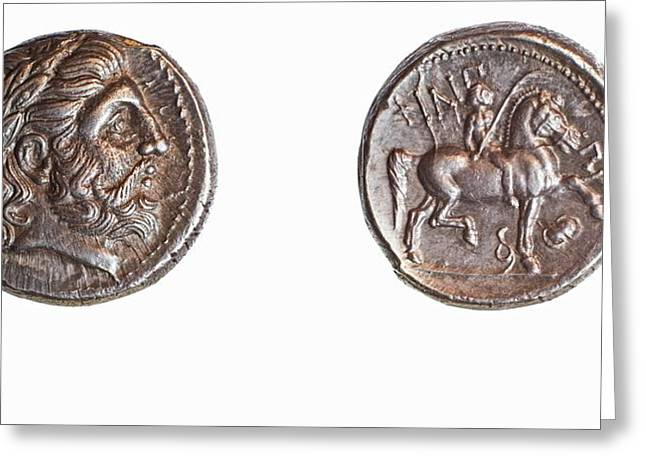 Philip II Silver Tetradrachm Greeting Card by Science Photo Library