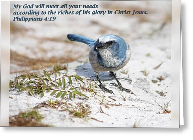 Christian Greeting Cards - Philippians 4 19 Greeting Card by Dawn Currie