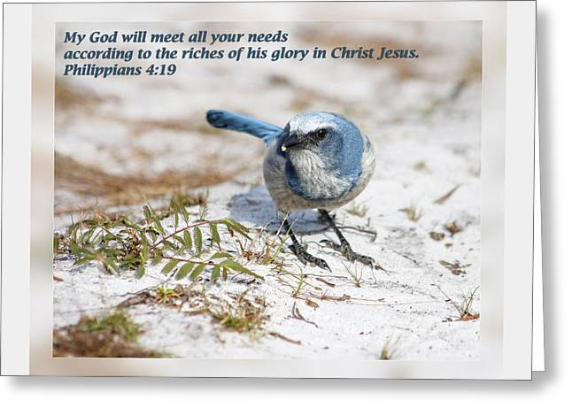 Steadfast Greeting Cards - Philippians 4 19 Greeting Card by Dawn Currie