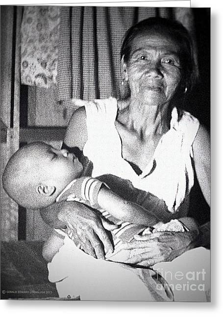 Filipina Greeting Cards - Philippine Boy with Nana Greeting Card by Gerald MacLennon
