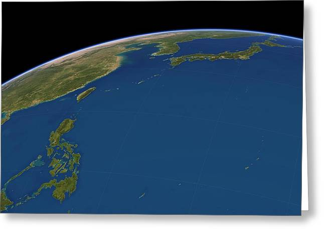 Yapping Greeting Cards - Philippine Sea, satellite artwork Greeting Card by Science Photo Library