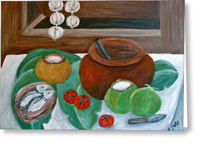Philippine Still Life With Fish And Coconuts Greeting Card by Victoria Lakes