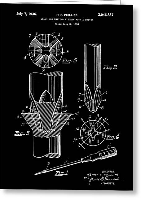 Lowes Greeting Cards - Phillips Screwdriver Patent 1934 - Black Greeting Card by Stephen Younts