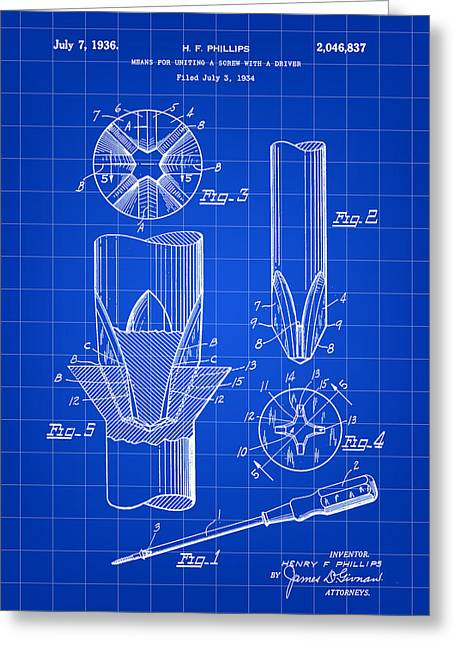 Lowes Greeting Cards - Phillips Screwdriver Patent 1934 - Blue Greeting Card by Stephen Younts