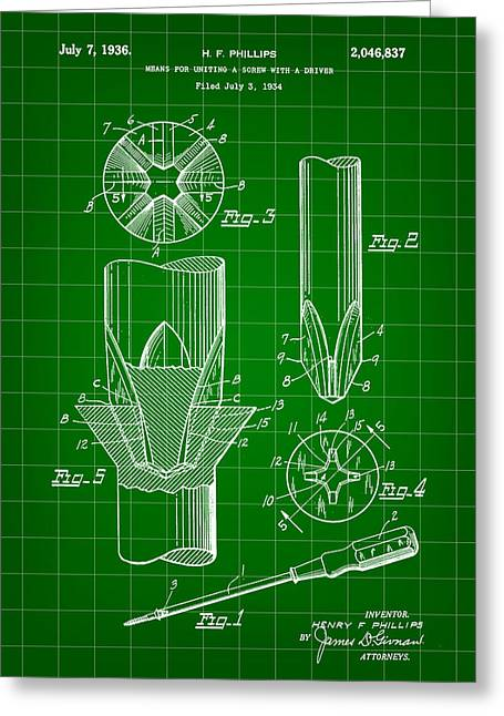 Lowes Greeting Cards - Phillips Screwdriver Patent 1934 - Green Greeting Card by Stephen Younts