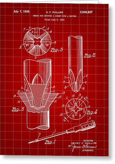 Lowes Greeting Cards - Phillips Screwdriver Patent 1934 - Red Greeting Card by Stephen Younts