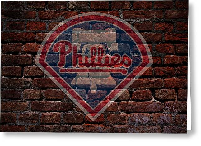 Cabin Wall Greeting Cards - Phillies Baseball Graffiti on Brick  Greeting Card by Movie Poster Prints
