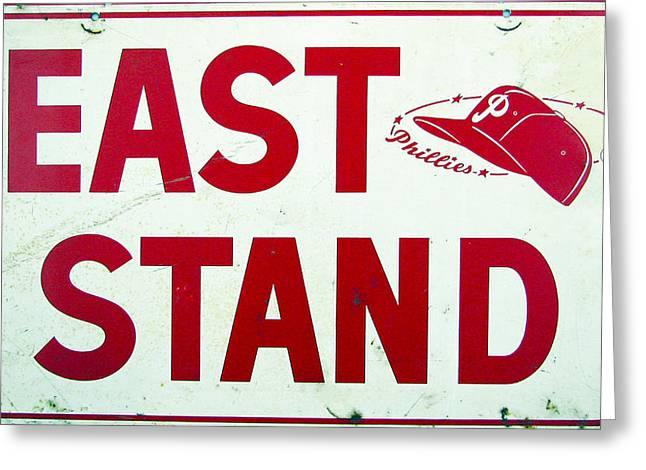 Phillies East Stand Sign - Connie Mack Stadium Greeting Card by Bill Cannon
