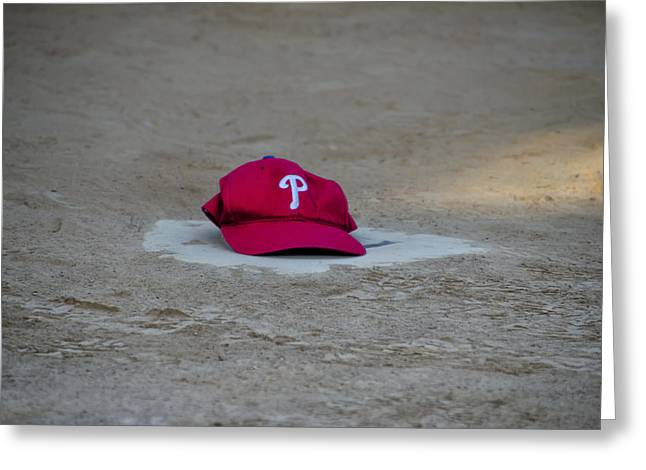 Baseball Game Greeting Cards - Phillies Hat on Home Plate Greeting Card by Bill Cannon