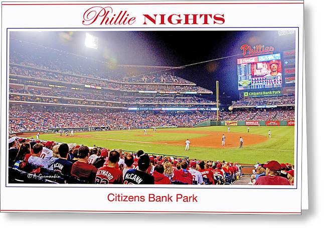 Phillies Night Baseball Poster Image Greeting Card by A Gurmankin