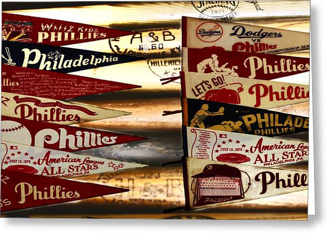 Phillies Pennants Greeting Card by Bill Cannon